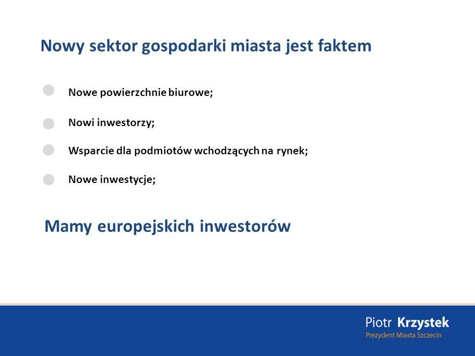 Nowy sektor gospodarki miasta jest faktem Nowe powierzchnie biurowe; Nowi inwestorzy; Wsparcie dla podmiotów wchodzących na rynek; Nowe inwestycje; Mamy europejskich inwestorów
