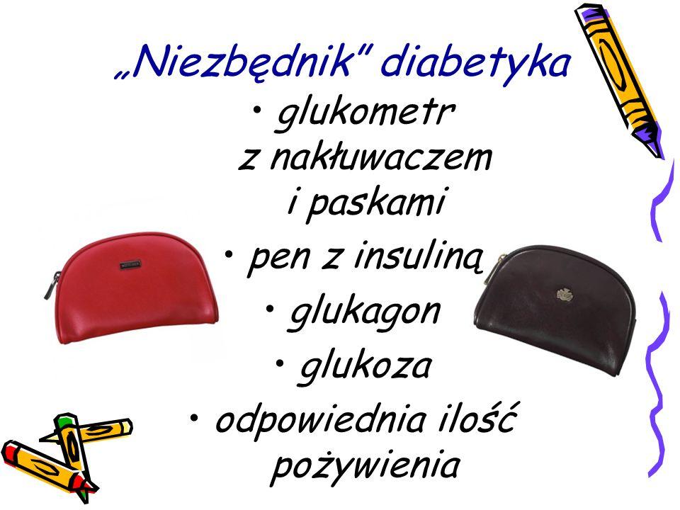 Niezbędnik diabetyka glukometr z nakłuwaczem i paskami pen z insuliną glukagon glukoza odpowiednia ilość pożywienia