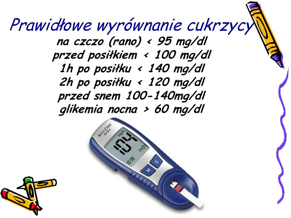 Prawidłowe wyrównanie cukrzycy na czczo (rano) 60 mg/dl