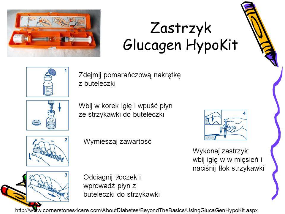 Zastrzyk Glucagen HypoKit Zdejmij pomarańczową nakrętkę z buteleczki Wbij w korek igłę i wpuść płyn ze strzykawki do buteleczki Wymieszaj zawartość Odciągnij tłoczek i wprowadź płyn z buteleczki do strzykawki Wykonaj zastrzyk: wbij igłę w w mięsień i naciśnij tłok strzykawki http://www.cornerstones4care.com/AboutDiabetes/BeyondTheBasics/UsingGlucaGenHypoKit.aspx