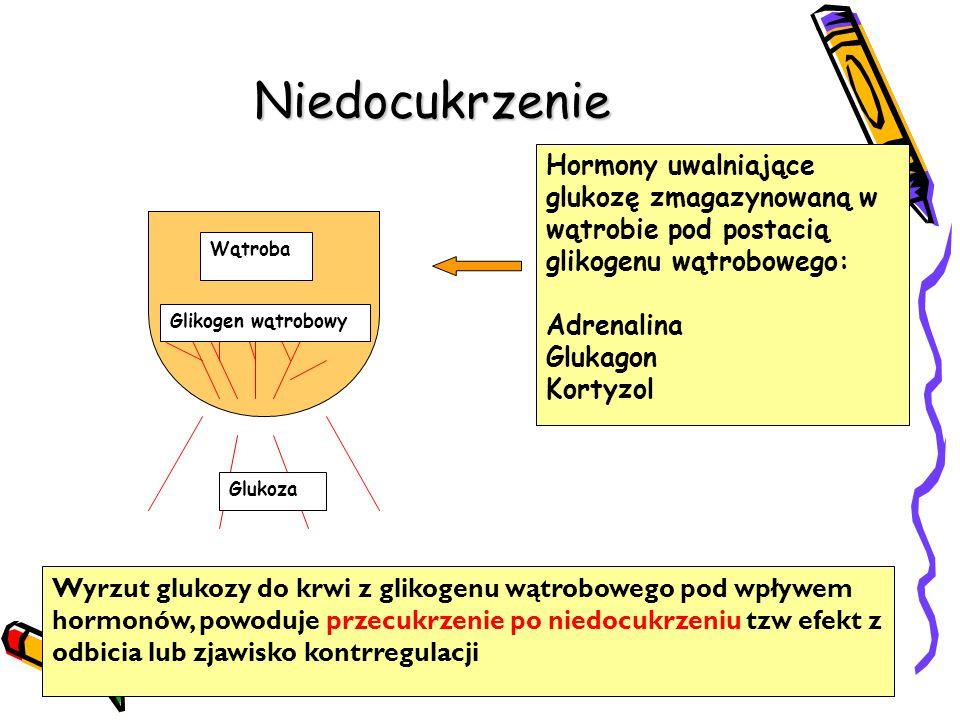 Niedocukrzenie Wyrzut glukozy do krwi z glikogenu wątrobowego pod wpływem hormonów, powoduje przecukrzenie po niedocukrzeniu tzw efekt z odbicia lub zjawisko kontrregulacji Hormony uwalniające glukozę zmagazynowaną w wątrobie pod postacią glikogenu wątrobowego: Adrenalina Glukagon Kortyzol Wątroba Glikogen wątrobowy Glukoza