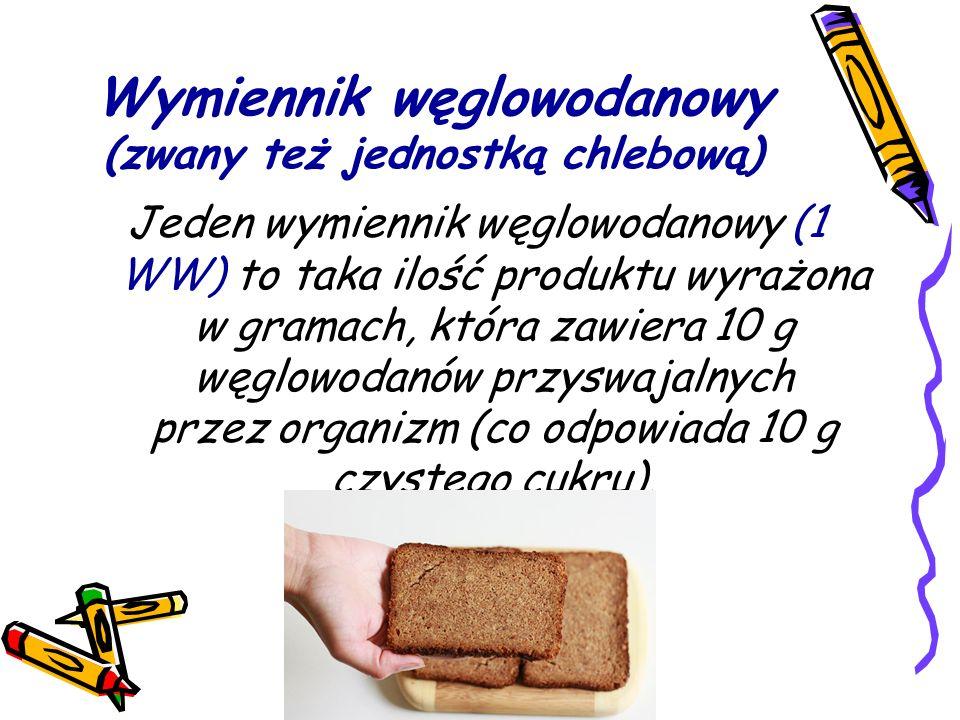 Wymiennik węglowodanowy (zwany też jednostką chlebową) Jeden wymiennik węglowodanowy (1 WW) to taka ilość produktu wyrażona w gramach, która zawiera 10 g węglowodanów przyswajalnych przez organizm (co odpowiada 10 g czystego cukru).