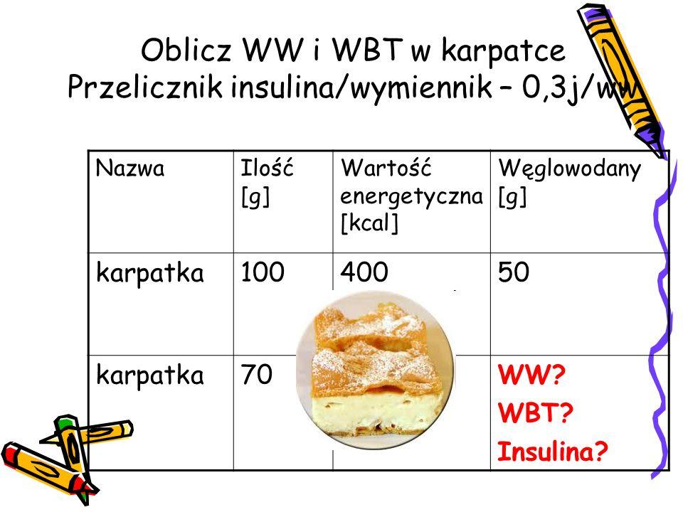 Oblicz WW i WBT w karpatce Przelicznik insulina/wymiennik – 0,3j/ww NazwaIlość [g] Wartość energetyczna [kcal] Węglowodany [g] karpatka10040050 karpatka70?WW.
