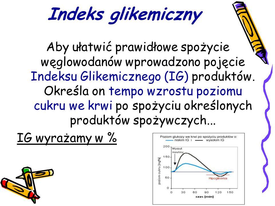 Indeks glikemiczny Aby ułatwić prawidłowe spożycie węglowodanów wprowadzono pojęcie Indeksu Glikemicznego (IG) produktów.