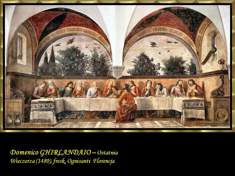 Domenico GHIRLANDAIO – Ostatnia Wieczerza (1480), fresk, Ognisanti Florencja