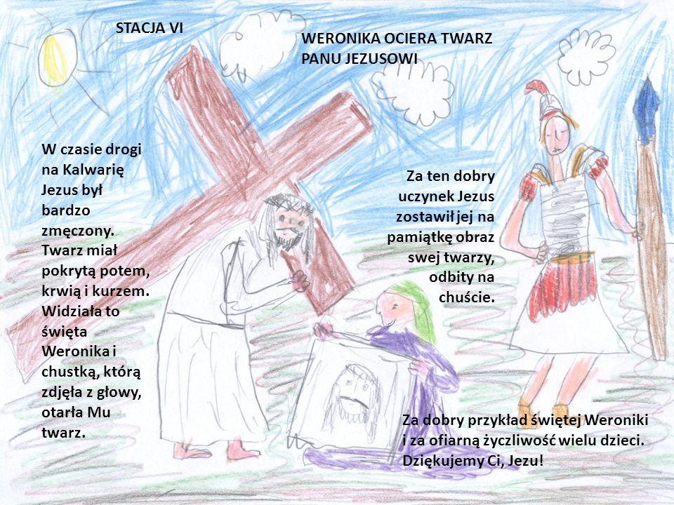 STACJA V SZYMON POMAGA NIEŚĆ KRZYŻ PANU JEZUSOWI Jezus jest już mocno zmęczony dźwiganiem krzyża. Ktoś powinien mu pomóc. Akurat Szymon z Cyreny wraca