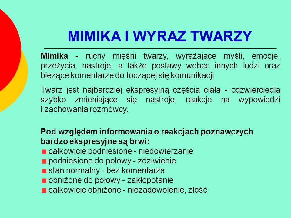 MIMIKA I WYRAZ TWARZY. Mimika - ruchy mięśni twarzy, wyrażające myśli, emocje, przeżycia, nastroje, a także postawy wobec innych ludzi oraz bieżące ko
