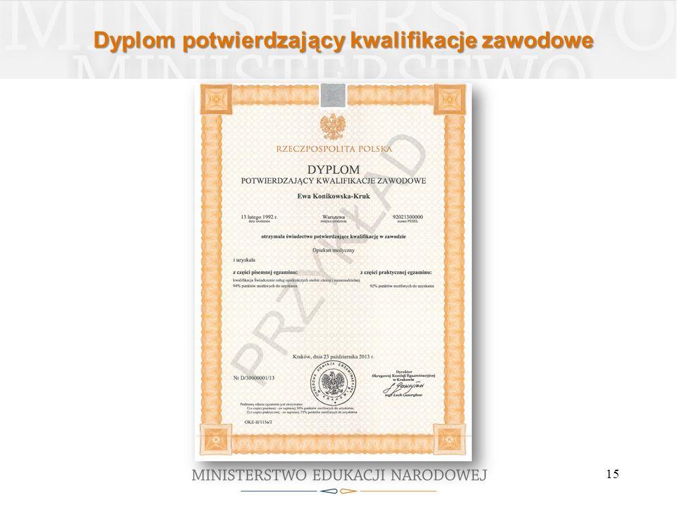 Dyplom potwierdzający kwalifikacje zawodowe 15