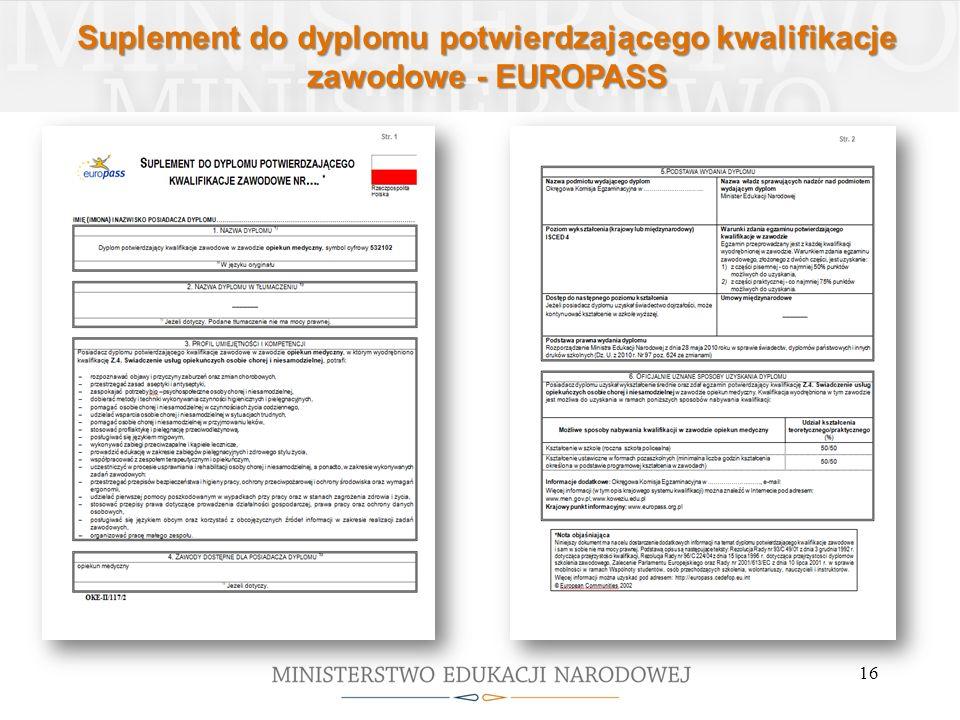 Suplement do dyplomu potwierdzającego kwalifikacje zawodowe - EUROPASS 16