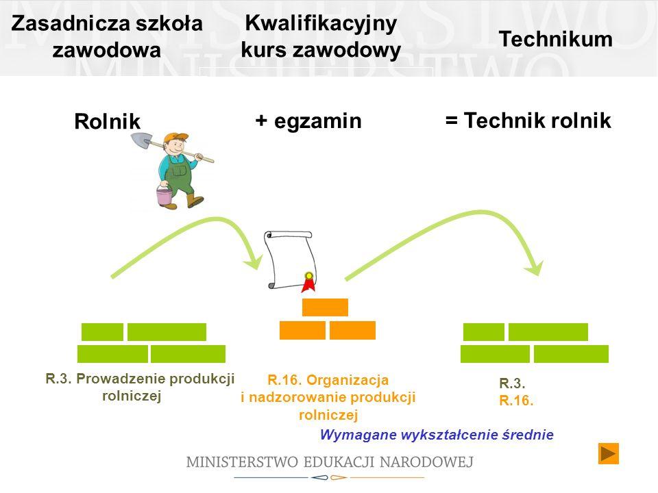 R.16. Organizacja i nadzorowanie produkcji rolniczej Zasadnicza szkoła zawodowa Rolnik Technikum R.3. Prowadzenie produkcji rolniczej = Technik rolnik