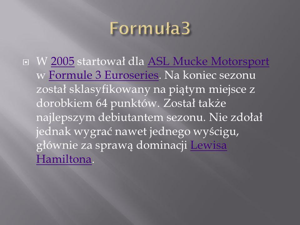 27 września, w nagrodę za zwycięstwo w Formule BMW, dostał szansę przetestowania bolidu Williams FW27.