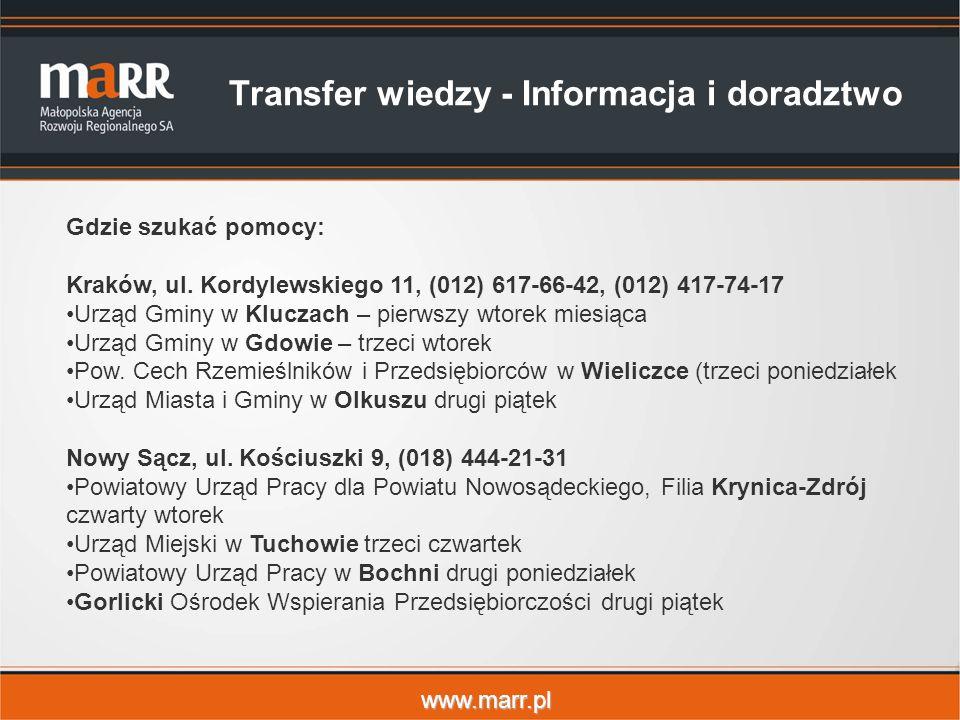 www.marr.pl Transfer wiedzy - Informacja i doradztwo Gdzie szukać pomocy: Kraków, ul.