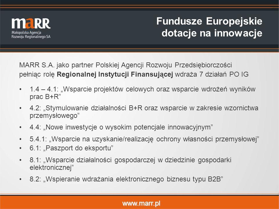 www.marr.pl Fundusze Europejskie dotacje na innowacje MARR S.A.