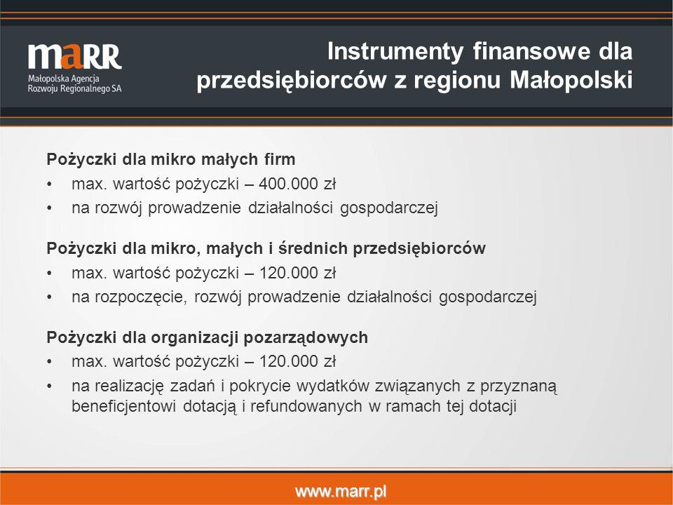 www.marr.pl Instrumenty finansowe dla przedsiębiorców z regionu Małopolski Pożyczki dla mikro małych firm max.