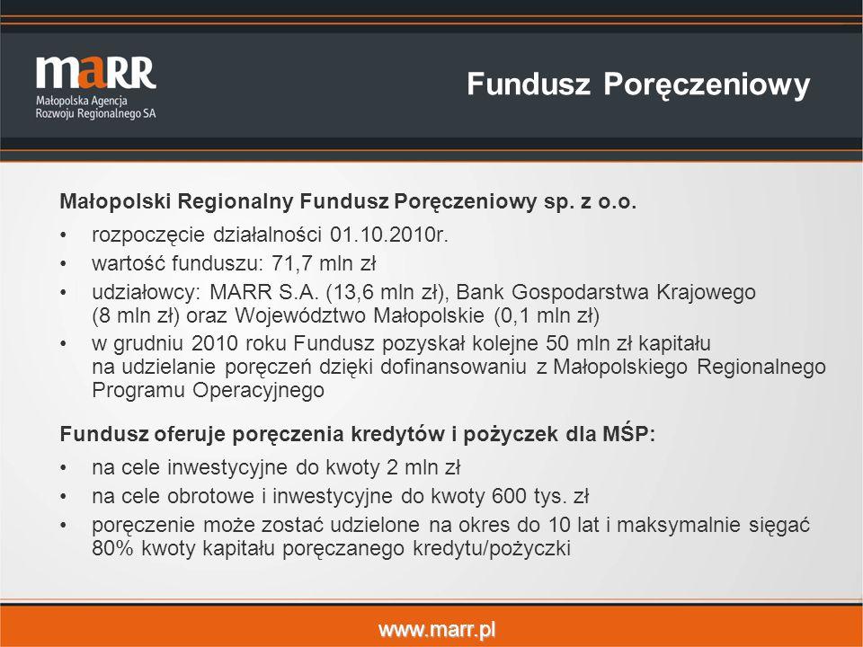 www.marr.pl Fundusz Poręczeniowy Małopolski Regionalny Fundusz Poręczeniowy sp.