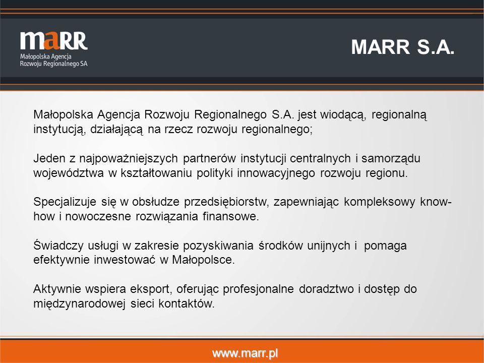www.marr.pl MARR S.A. Małopolska Agencja Rozwoju Regionalnego S.A.