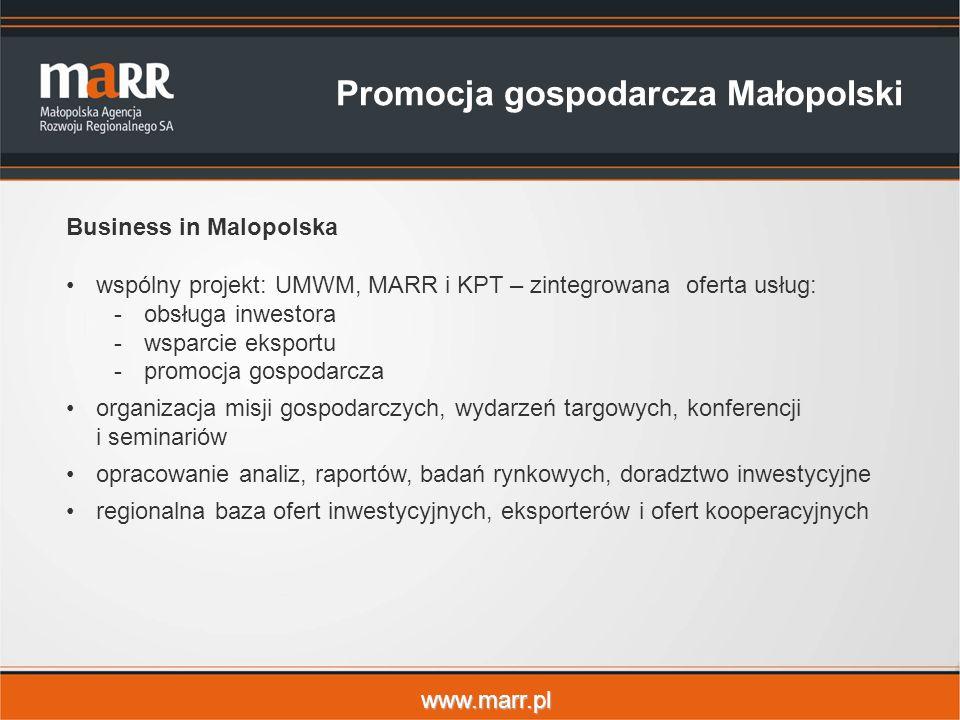 www.marr.pl Promocja gospodarcza Małopolski Business in Malopolska wspólny projekt: UMWM, MARR i KPT – zintegrowana oferta usług: -obsługa inwestora -wsparcie eksportu -promocja gospodarcza organizacja misji gospodarczych, wydarzeń targowych, konferencji i seminariów opracowanie analiz, raportów, badań rynkowych, doradztwo inwestycyjne regionalna baza ofert inwestycyjnych, eksporterów i ofert kooperacyjnych