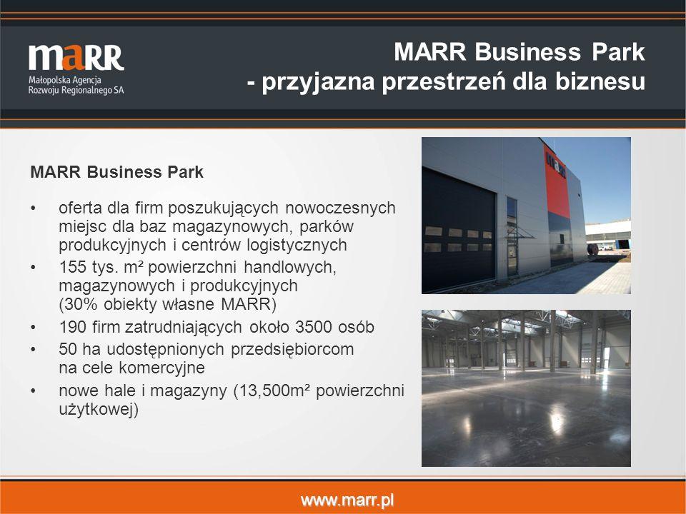 www.marr.pl MARR Business Park - przyjazna przestrzeń dla biznesu MARR Business Park oferta dla firm poszukujących nowoczesnych miejsc dla baz magazynowych, parków produkcyjnych i centrów logistycznych 155 tys.
