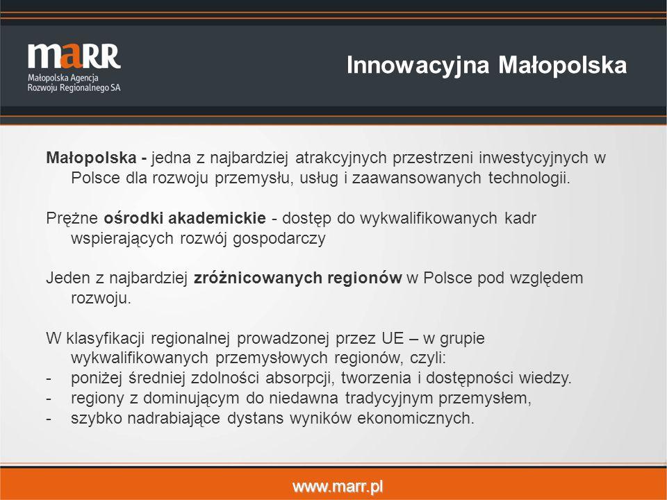 www.marr.pl Innowacyjna Małopolska Małopolska - jedna z najbardziej atrakcyjnych przestrzeni inwestycyjnych w Polsce dla rozwoju przemysłu, usług i zaawansowanych technologii.