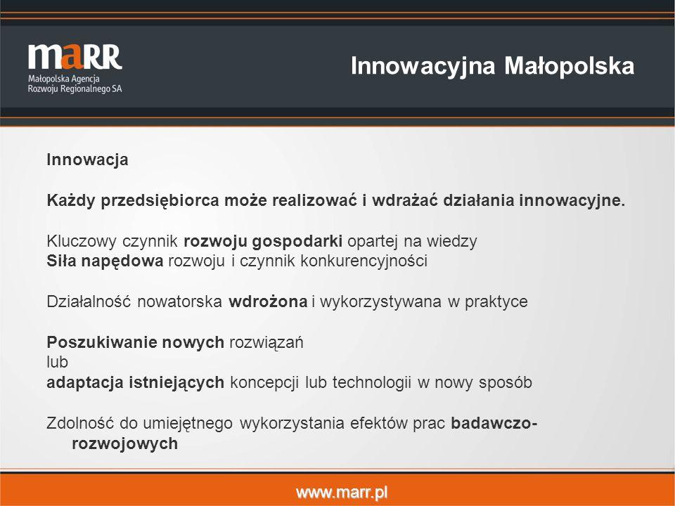 www.marr.pl Innowacyjna Małopolska Innowacja Każdy przedsiębiorca może realizować i wdrażać działania innowacyjne.