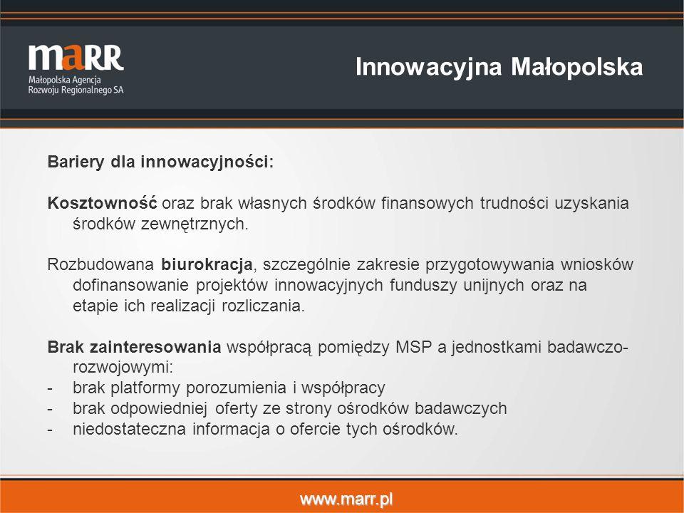 www.marr.pl Innowacyjna Małopolska Bariery dla innowacyjności: Kosztowność oraz brak własnych środków finansowych trudności uzyskania środków zewnętrznych.