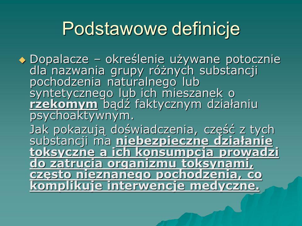 Podstawowe definicje Dopalacze – określenie używane potocznie dla nazwania grupy różnych substancji pochodzenia naturalnego lub syntetycznego lub ich mieszanek o rzekomym bądź faktycznym działaniu psychoaktywnym.