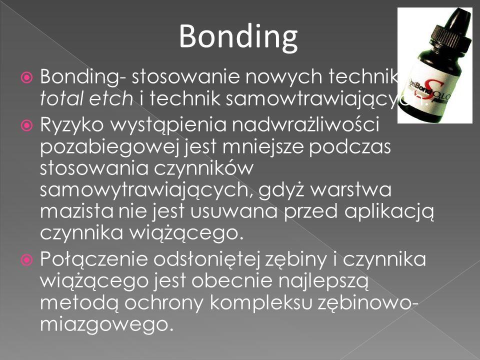 Bonding- stosowanie nowych technik total etch i technik samowtrawiających.