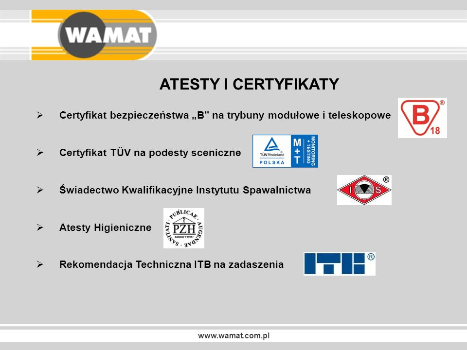www.wamat.com.pl NASZE REALIZACJE Trybuny teleskopowe TW-2 CENTRUM KULTURY W BŁONIU