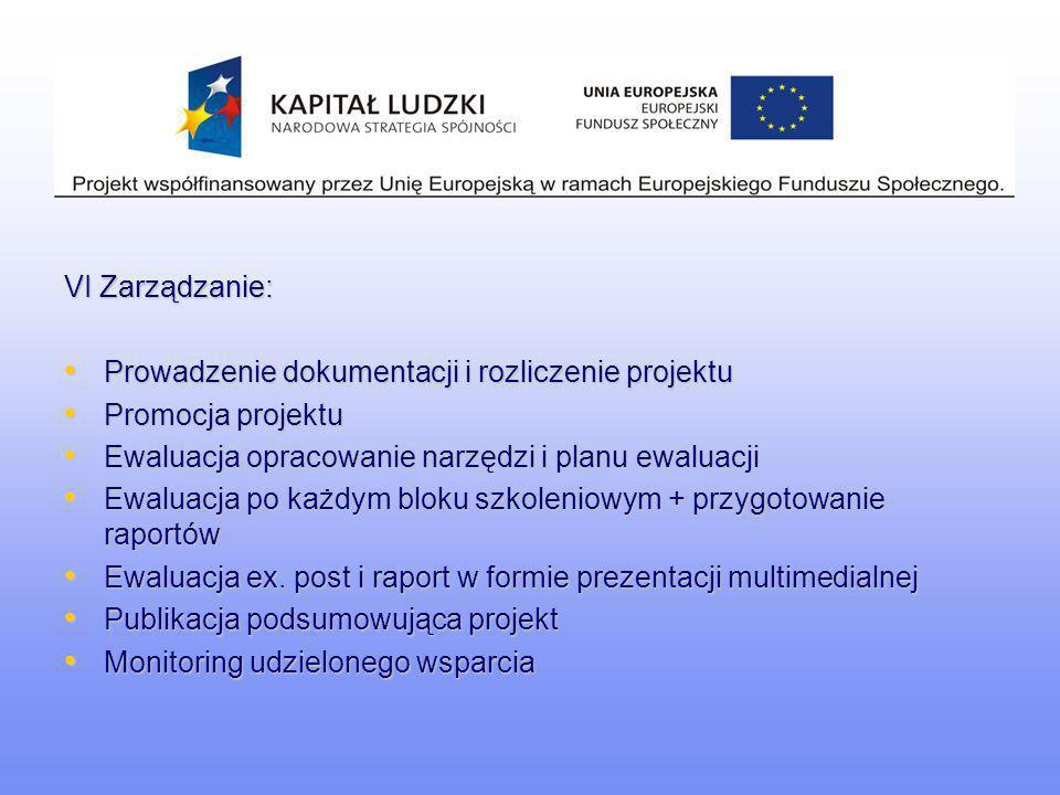 VI Zarządzanie: Prowadzenie dokumentacji i rozliczenie projektu Prowadzenie dokumentacji i rozliczenie projektu Promocja projektu Promocja projektu Ew