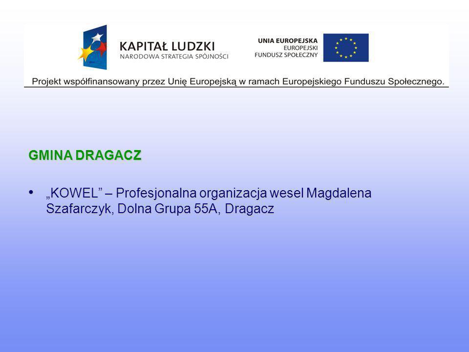 GMINA DRAGACZ KOWEL – Profesjonalna organizacja wesel Magdalena Szafarczyk, Dolna Grupa 55A, Dragacz KOWEL – Profesjonalna organizacja wesel Magdalena