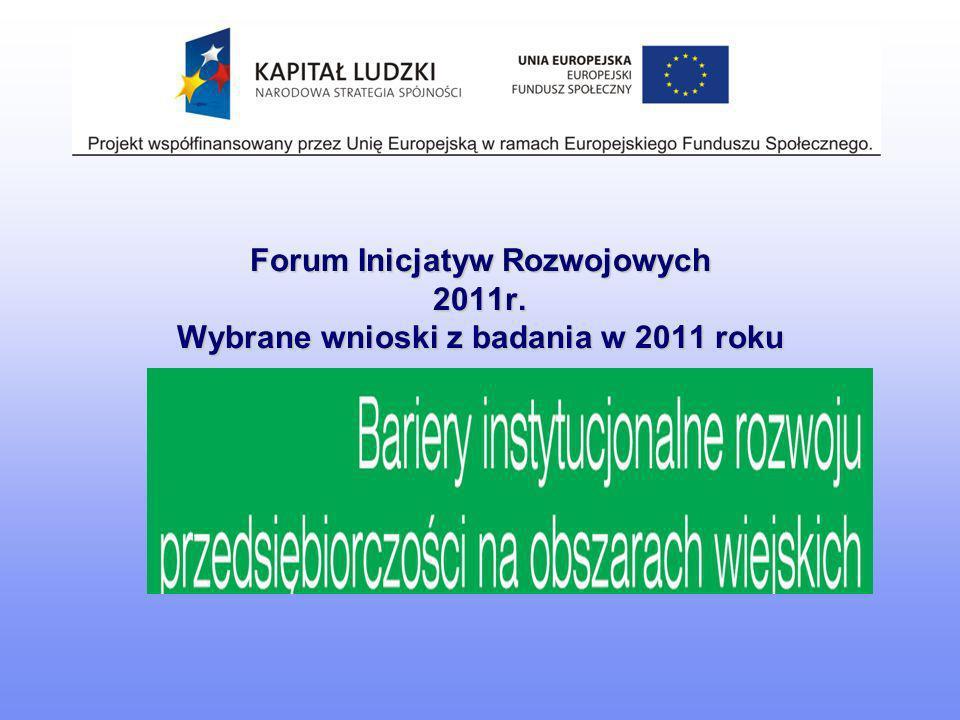 Forum Inicjatyw Rozwojowych 2011r. Wybrane wnioski z badania w 2011 roku