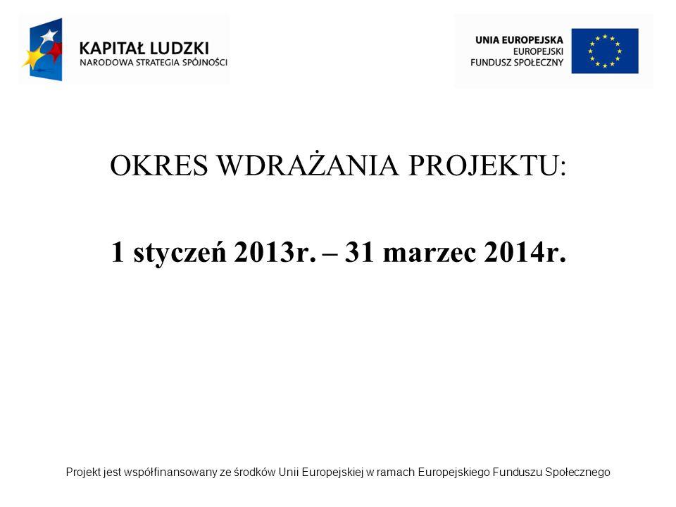 Projekt jest współfinansowany ze środków Unii Europejskiej w ramach Europejskiego Funduszu Społecznego OKRES WDRAŻANIA PROJEKTU: 1 styczeń 2013r. – 31