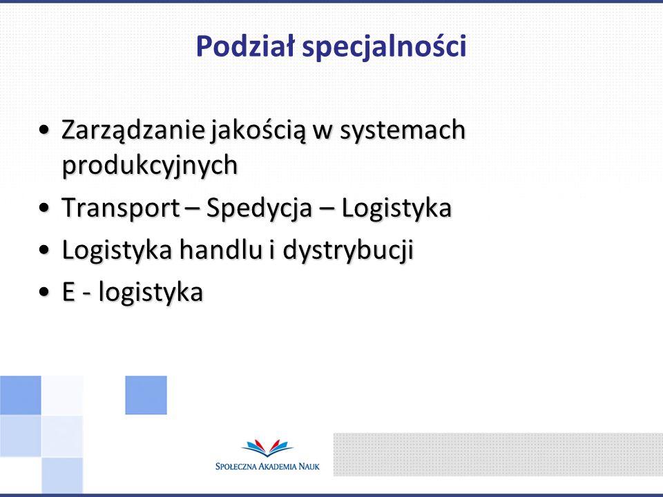 Zarządzanie jakością w systemach produkcyjnychZarządzanie jakością w systemach produkcyjnych Transport – Spedycja – LogistykaTransport – Spedycja – Lo