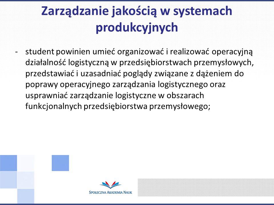 -student powinien umieć organizować i realizować operacyjną działalność logistyczną w przedsiębiorstwach przemysłowych, przedstawiać i uzasadniać pogl