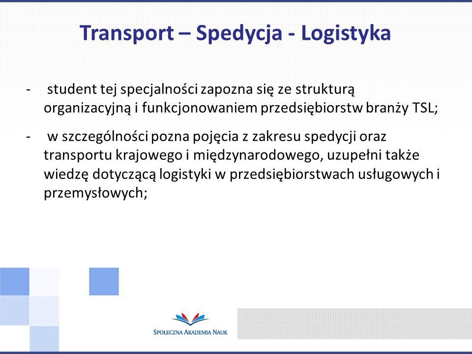 - student tej specjalności zapozna się ze strukturą organizacyjną i funkcjonowaniem przedsiębiorstw branży TSL; - w szczególności pozna pojęcia z zakr
