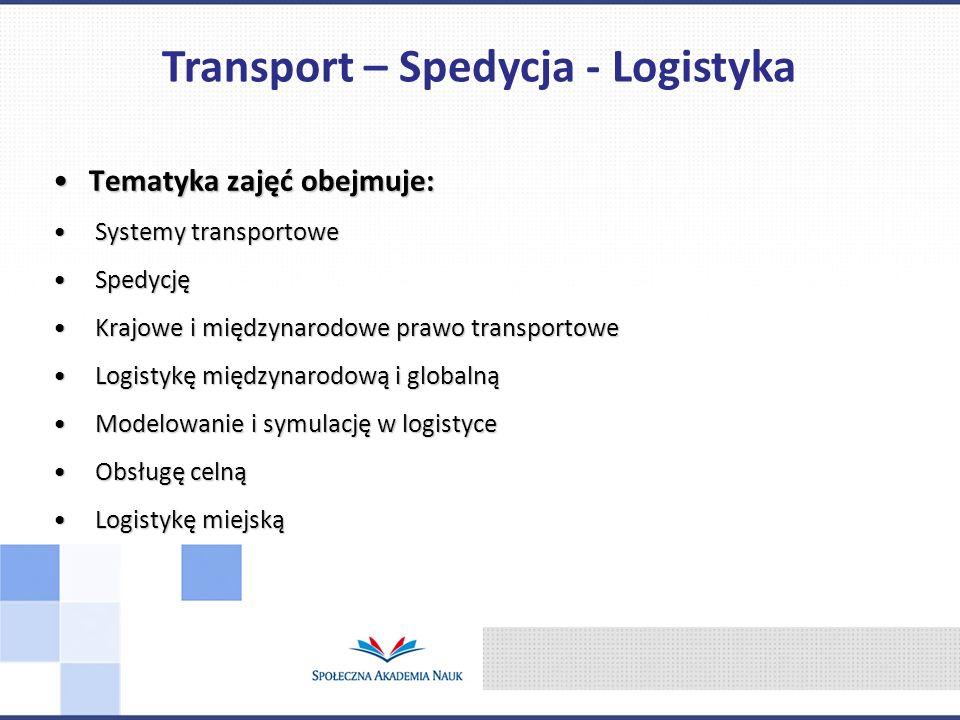 Tematyka zajęć obejmuje:Tematyka zajęć obejmuje: Systemy transportowe Systemy transportowe Spedycję Spedycję Krajowe i międzynarodowe prawo transporto