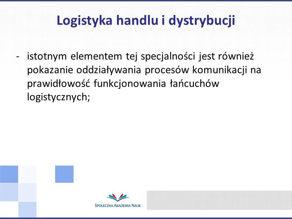 -istotnym elementem tej specjalności jest również pokazanie oddziaływania procesów komunikacji na prawidłowość funkcjonowania łańcuchów logistycznych;