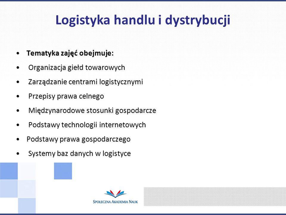 Tematyka zajęć obejmuje:Tematyka zajęć obejmuje: Organizacja giełd towarowych Organizacja giełd towarowych Zarządzanie centrami logistycznymi Zarządza