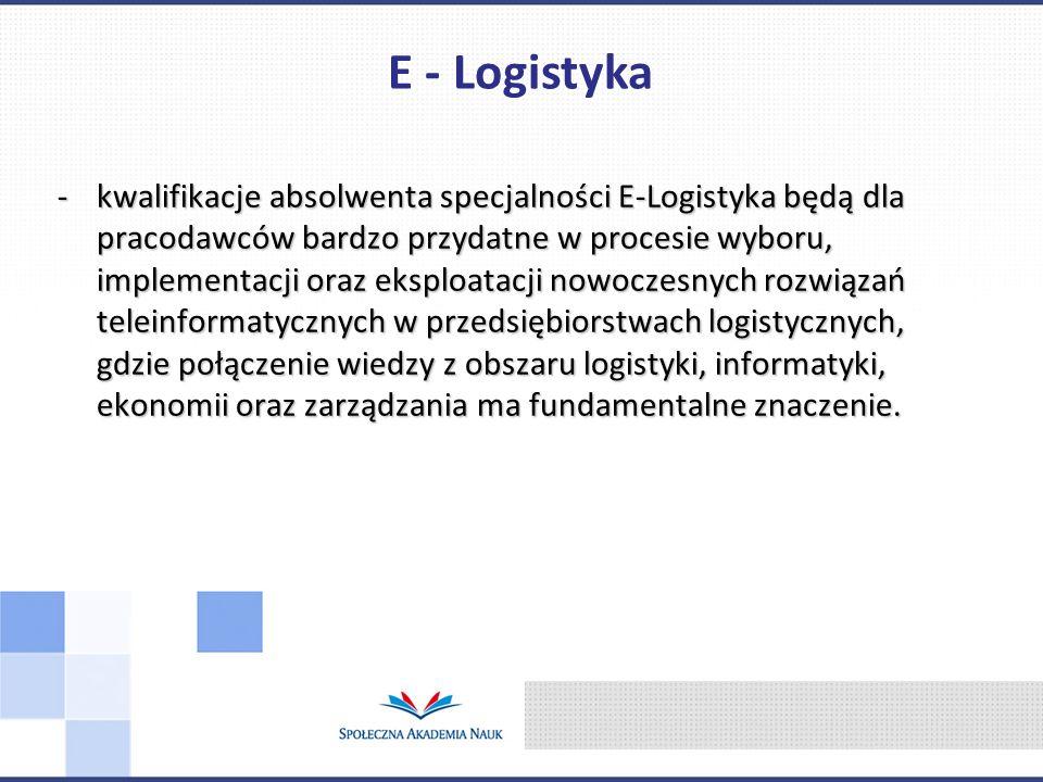 -kwalifikacje absolwenta specjalności E-Logistyka będą dla pracodawców bardzo przydatne w procesie wyboru, implementacji oraz eksploatacji nowoczesnyc