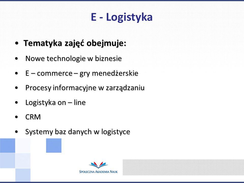 Tematyka zajęć obejmuje:Tematyka zajęć obejmuje: Nowe technologie w biznesie Nowe technologie w biznesie E – commerce – gry menedżerskie E – commerce