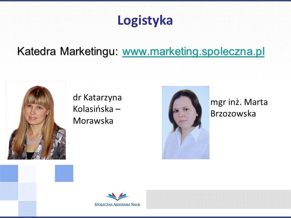 Katedra Marketingu: www.marketing.spoleczna.pl www.marketing.spoleczna.pl Logistyka dr Katarzyna Kolasińska – Morawska mgr inż. Marta Brzozowska