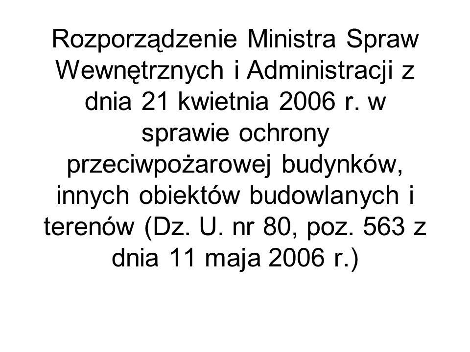 Rozporządzenie Ministra Spraw Wewnętrznych i Administracji z dnia 21 kwietnia 2006 r. w sprawie ochrony przeciwpożarowej budynków, innych obiektów bud