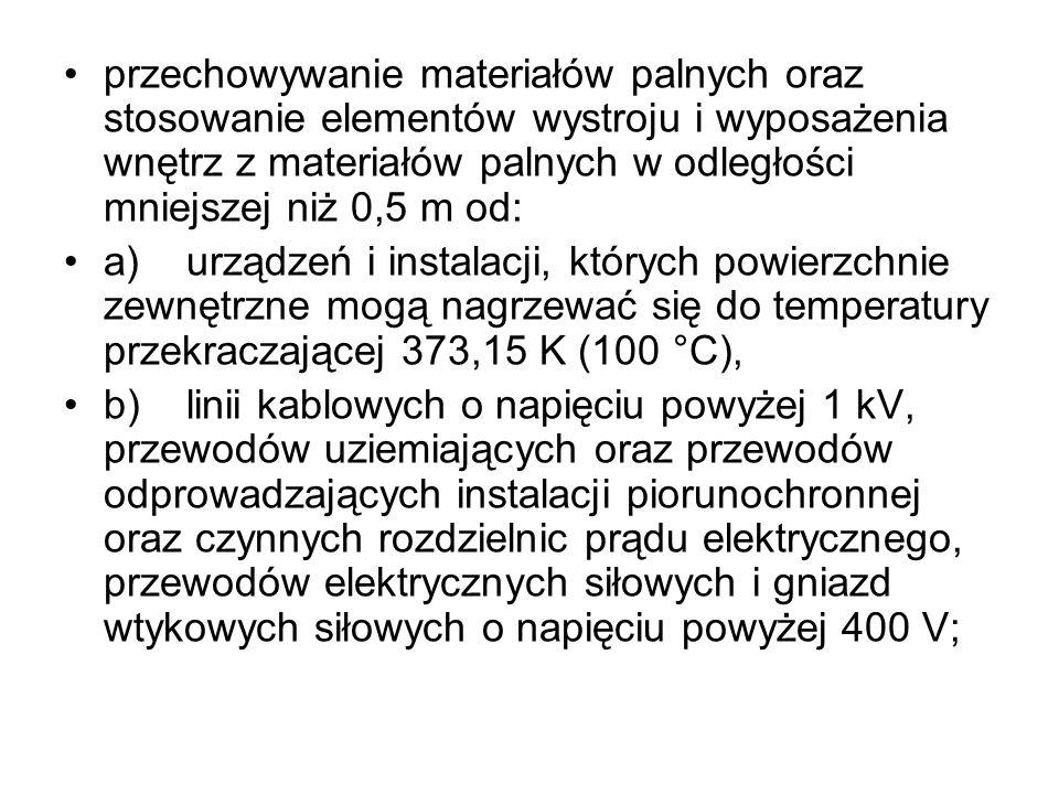 przechowywanie materiałów palnych oraz stosowanie elementów wystroju i wyposażenia wnętrz z materiałów palnych w odległości mniejszej niż 0,5 m od: a)