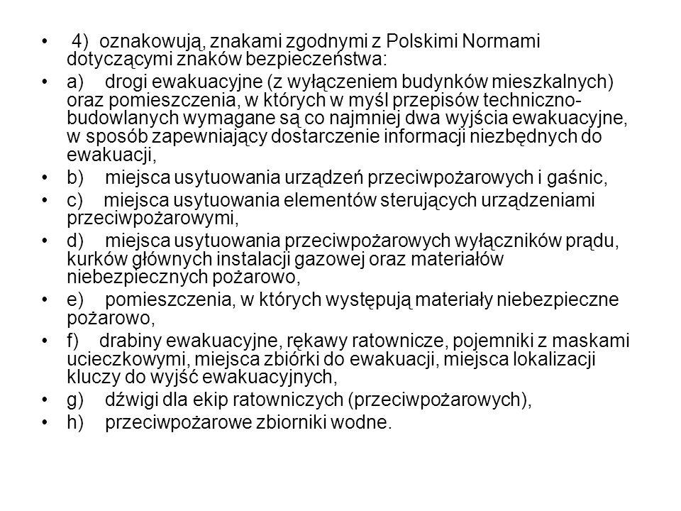 4) oznakowują, znakami zgodnymi z Polskimi Normami dotyczącymi znaków bezpieczeństwa: a) drogi ewakuacyjne (z wyłączeniem budynków mieszkalnych) oraz