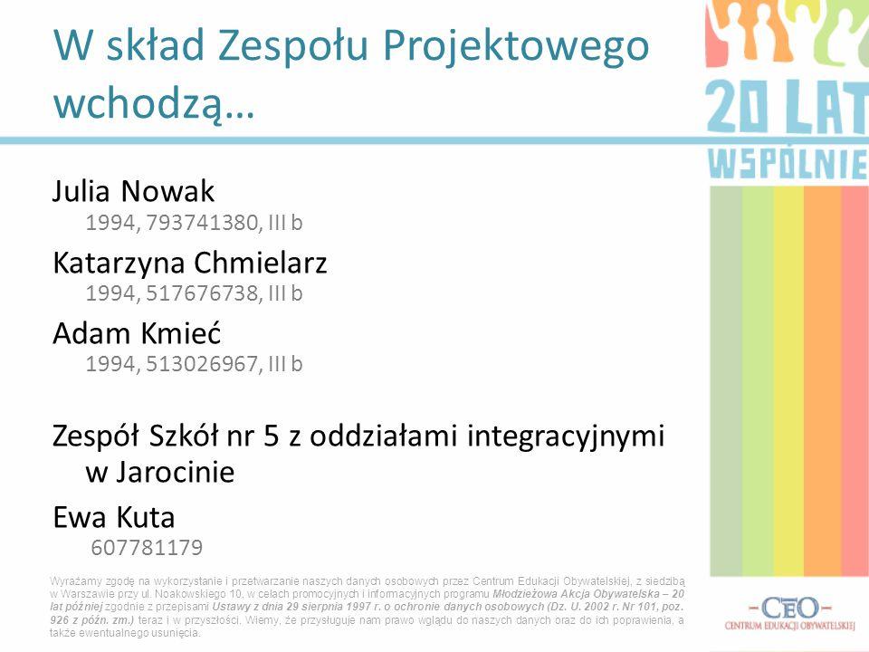 Julia Nowak 1994, 793741380, III b Katarzyna Chmielarz 1994, 517676738, III b Adam Kmieć 1994, 513026967, III b Zespół Szkół nr 5 z oddziałami integra