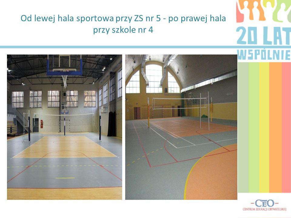 Od lewej hala sportowa przy ZS nr 5 - po prawej hala przy szkole nr 4