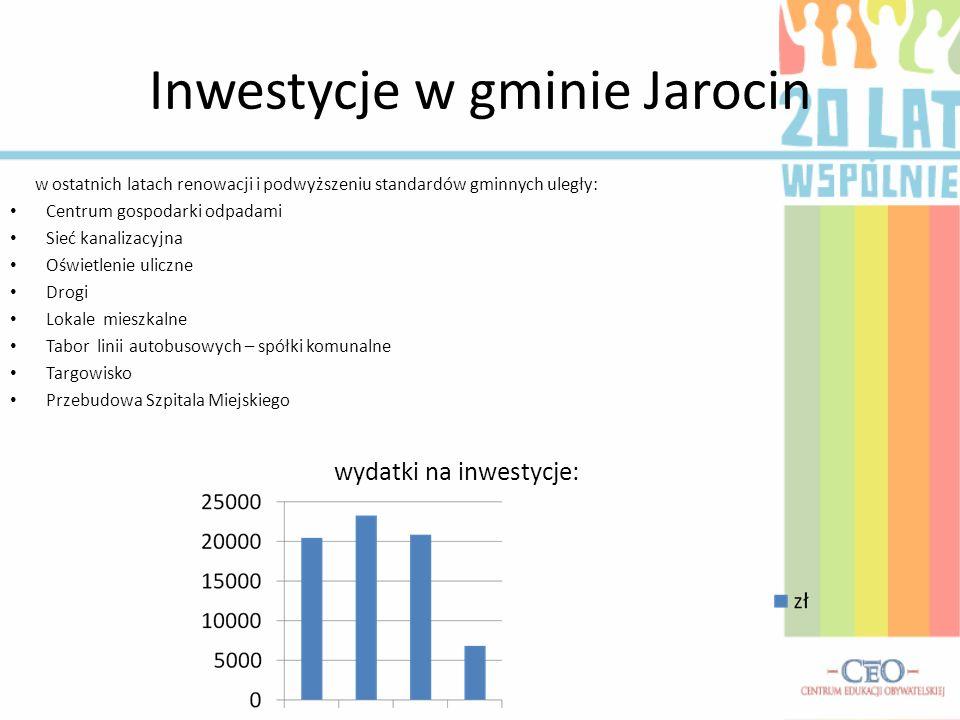 Inwestycje w gminie Jarocin w ostatnich latach renowacji i podwyższeniu standardów gminnych uległy: Centrum gospodarki odpadami Sieć kanalizacyjna Ośw