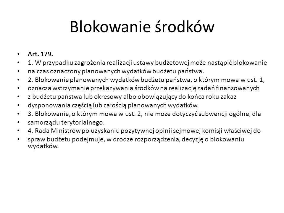 Blokowanie środków Art.179. 1.