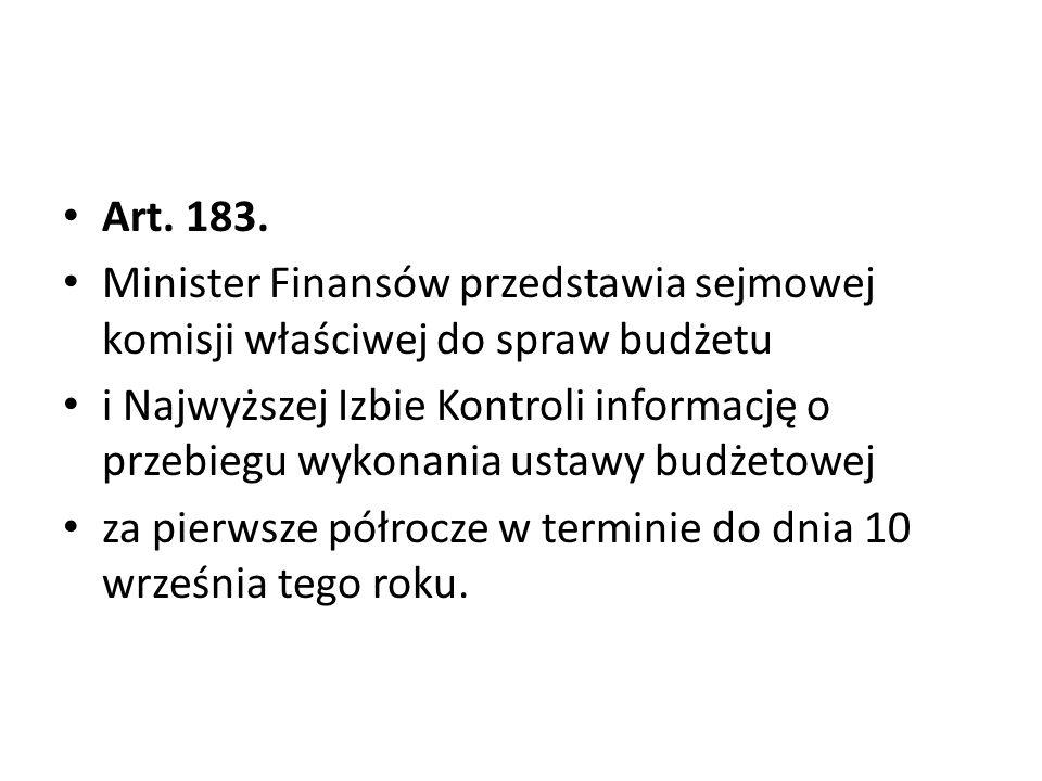 Art. 183. Minister Finansów przedstawia sejmowej komisji właściwej do spraw budżetu i Najwyższej Izbie Kontroli informację o przebiegu wykonania ustaw
