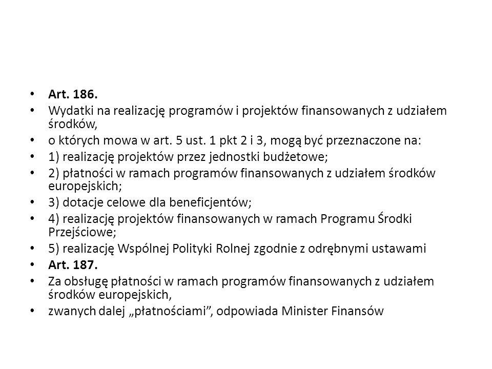 Art. 186. Wydatki na realizację programów i projektów finansowanych z udziałem środków, o których mowa w art. 5 ust. 1 pkt 2 i 3, mogą być przeznaczon
